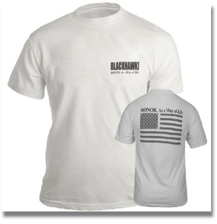 BLACKHAWK! HONOR T-SHIRT (GRAY FLAG)  Constructed of 100% cotton, this simple short-sleeve design features the BLACKHAWK!® logo.